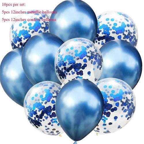 Gemengde Blauwe Ballonnen met confetti Ballon Verjaardagsfeestje Decoratie Babyshower
