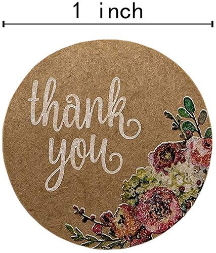 Kraft Floral Thank You Stickers - 1 inch ronde Labels +/- 500 Per rol Thank you sluitsticker-2