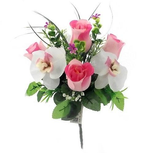 Boeketje roosjes en orchidee PINK/CREAM 30 cm. Lief boeketje