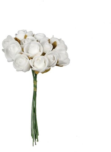 Mini foam roos 2 cm. Wit / doosje 144 Mini foam roos