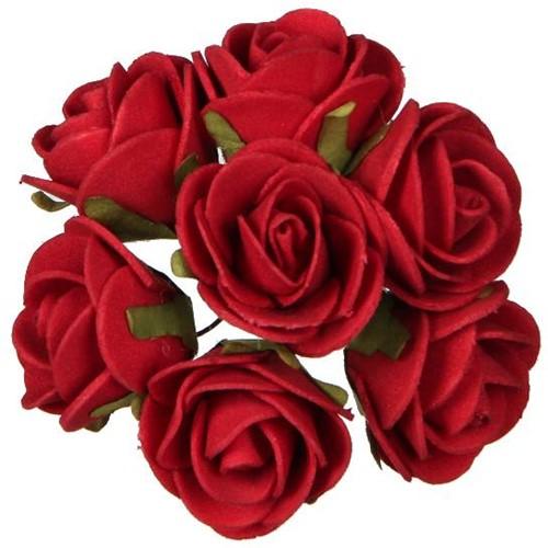 Mini foam roos Rood 3cm. per bundel foambloemen