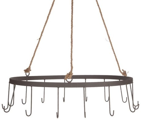 Metalen ring met ophangketting en haken grijs  40x10/60cm
