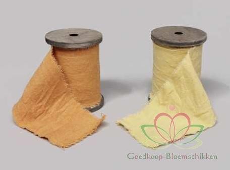 Lint Linnen Jute Fabric Ribbon 8. 5 cm. 3 meter ORANJE ! Fabric