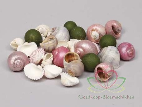 Schelpenmix deluxe roze parelmoer, 350 gram