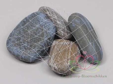 Riviersteen groot 1000 gram. Blauw-Bruin Stenen