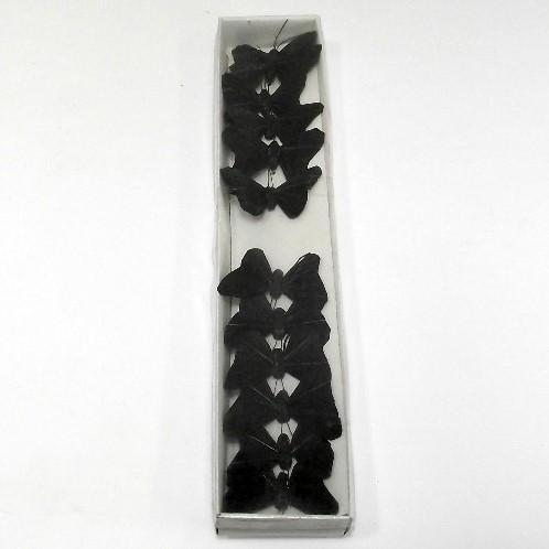 Vlinders Zwarte vlinders van veren 5 cm. doos 12* Vlinder