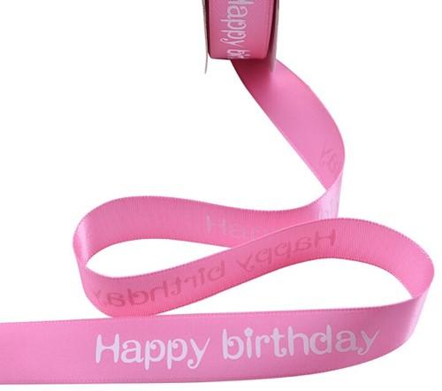 Lint bedrukt Satijnlint HAPPY BIRTHDAY 5m           Pink2 Polyester