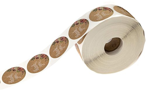 Kraft Floral Thank You Stickers - 1 inch ronde Labels +/- 500 Per rol Thank you sluitsticker-3