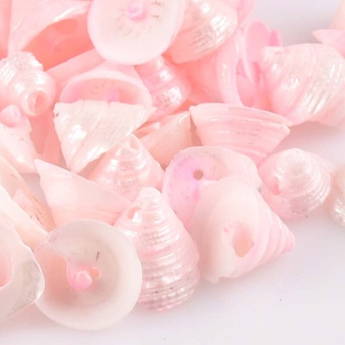 Pink Natural Spiral Conch met klein gaatje voor sieraden +/- 30st 13-15mmschelpjes voor sieraden  -3