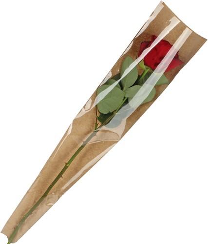 Hoes voor enkele bloem Bruin kraft 45*13-3cm. /Pak +/-50 Hoes voor enkele bloem