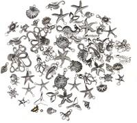 Bedels Ocean Zilverkleurig voor sieraden, mix +/- 55st Gemengde maten-3