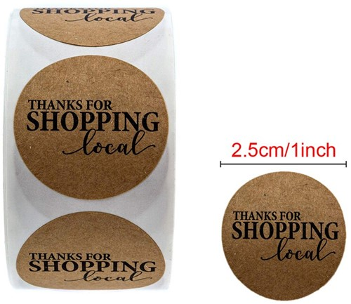 500 Stickers Labels Rol Thanks for shopping LOCAL rol etiketten