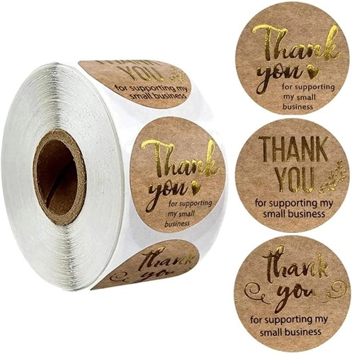 500 Stickers Labels Rol Thank you for Supporting My Small Business  GOUD INKT rol etiketten