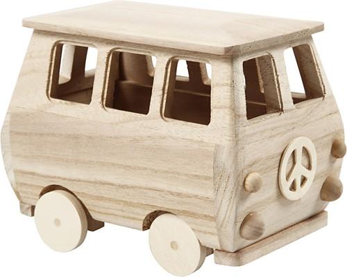 Houten bus  17x10x13 cm grenen miniatuur