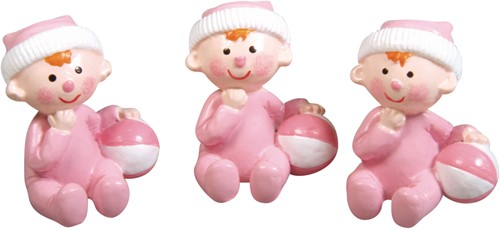 Polyresin Baby Girl, 3x2, 5cm, Box 3st. baby roze Baby meisje