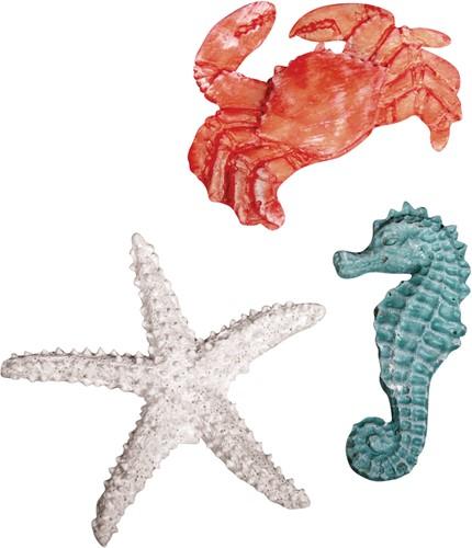 Maritiem Polyresin zeedieren, 4-6cm, 3 soorten, ZB-zak 3 st.  Polyresin zeedieren, 4-6c