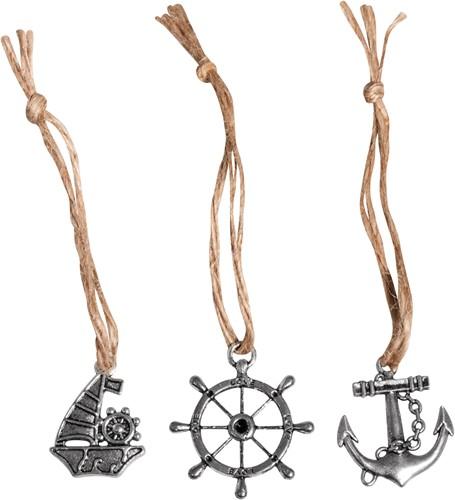 Maritiem Metalen hangertje m. jute koord maritiem, 3, 5cm, 3 Maritiem Metalen hangertj