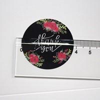 120 Stickers Labels Thank you Black, Flowers ovaal Zwarte Thank you sluitsticker-2