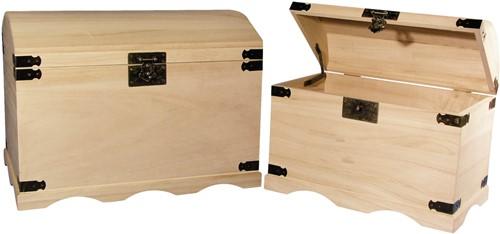 Set houten schatkisten 2 afm. 37x21x26 cm. + 44, 8x28, 8x32 cm. Set houten schatkisten 2