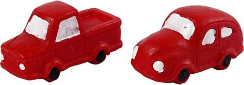 Mini auto's, h20 mm l40 mm, rood, auto's, 2stuks Mini autootjes