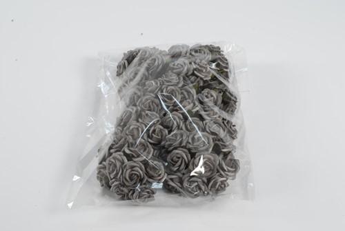 Mini foamroos Stone Steengrijs 2, 5 cm. Zak +/- 90 stuks Mini foamroosje