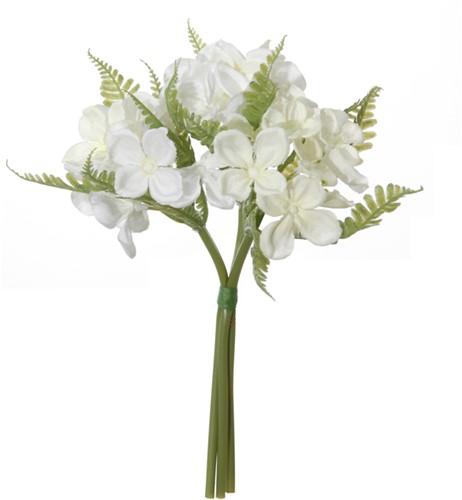 Hortensiabundel 23cm. Wit bundel met 3 stuks Hortensiabundel 23cm.