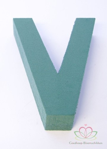 Letter V van Steekschuim 30 x 20 cm