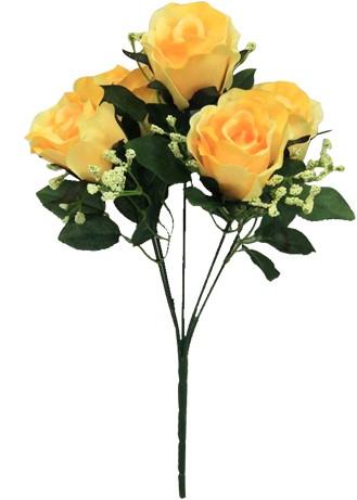 Sweety Rose Rozenboeketje (5 knop) met Gips 31cm. Yellow gele roosjes