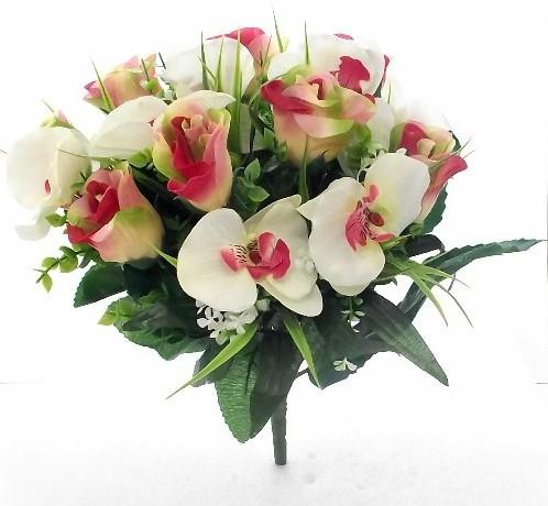 Boeket Rozen en Orchideeen PINK/IVORY Roos Orchidee