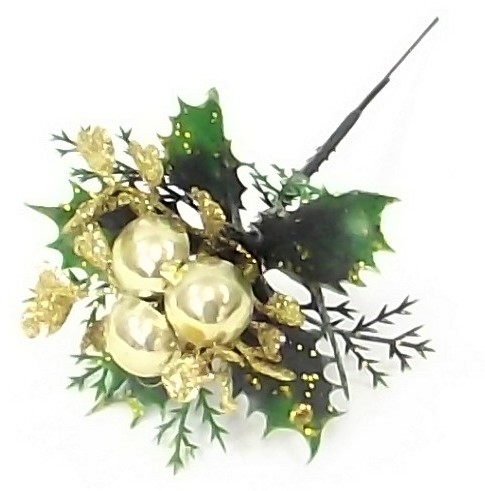 KerstbijstekerGouden balletjes, blad en hulst /stuk Kerstbijsteker