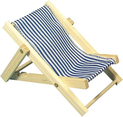 Maritiem HOUTEN zonneligstoel BLAUW 14cm. 1 st Maritiem strandstoel