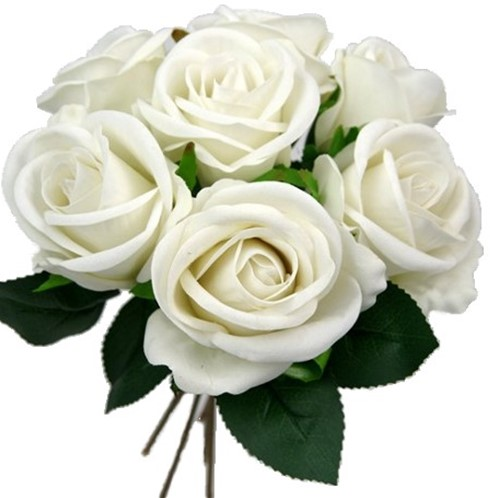 Zijde Rozen 26cm. LARGE VELVET TOUCH OPEN ROSE PUUR WHITE Grote bloem