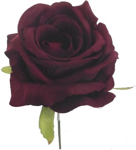 Open Roos zijde 27cm BURGUNDY Donkerrode roos op draad
