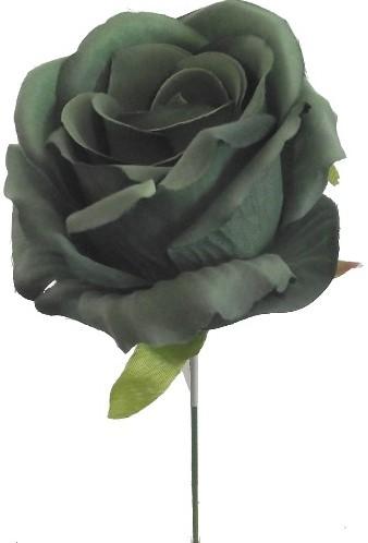 Open Roos zijde 27cm Groen Aparte groene roos op draad