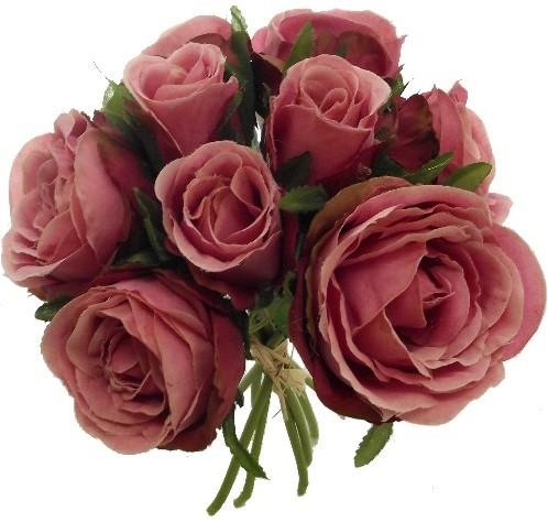 Zijde Rozen MIXED ROSE BUNDLE (9 HEADS) VINTAGE PINK Grote bloem