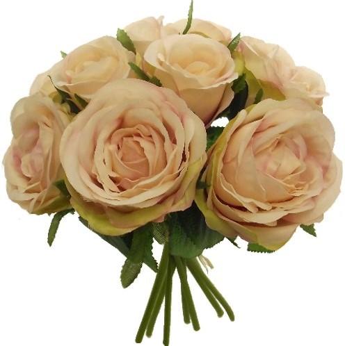 Zijde Rozen MIXED ROSE BUNDLE (9 HEADS) BLUSH Grote bloem