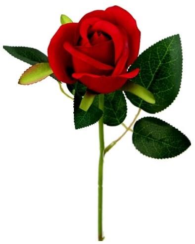 Rode roos Valentijnroos Zijde korter /stuk SINGLE SHORT STEM ROSEBUD RED met blad