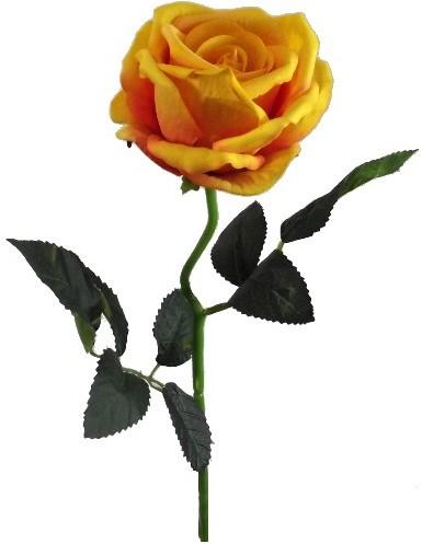 Mosterdgele Roos 52 cm zijde Velvet touch / stuk Zijde roos