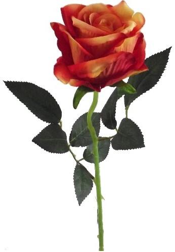 Oranje Roos zijde Velvet touch 52 cm / stuk Warm Oranje roos