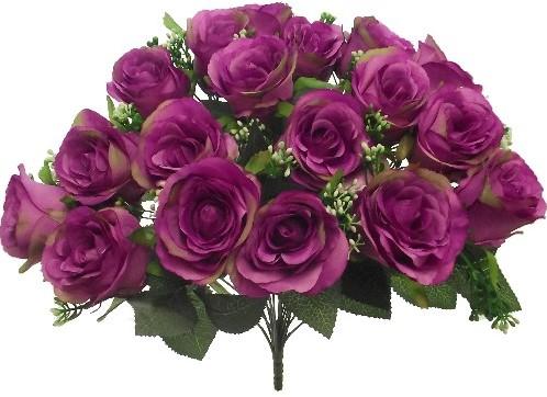 Rouwboeket zijdebloemen Grote Rozen+Gips Purple Grafstuk