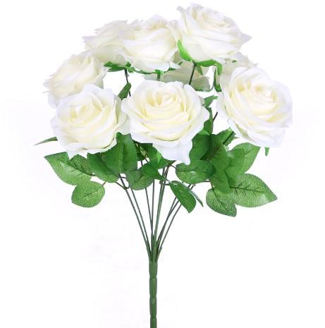 Zijde Rozen LARGE OPEN ROSE BUSH IVORY Grote bloem
