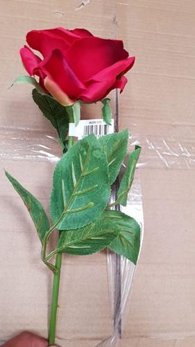 Roos Groot ZIJDE / Tak 60cm. Rood Grote roos