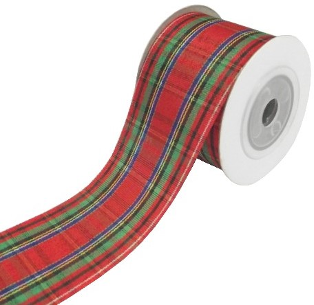 Kerstlint Tartan 25mm RED/GREEN/GOLD rol 10yard Kerstlint