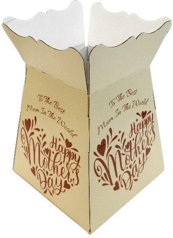 EURO BOUQUET BOX Happy Mothersday Creme Bruin X 25pcs Boeketverpakking