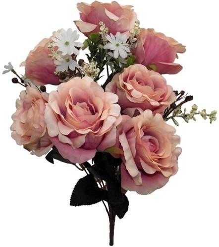 Gemengd boeket Oudroze rozen met groen 52cm hoog Zijdebloem