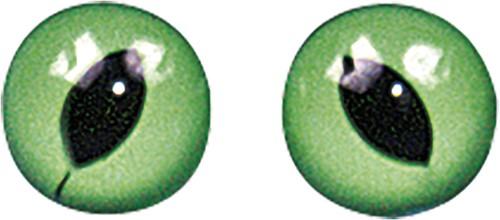 Kattenogen Groen /zwart 8 mm, zakje 10st Dierenogen