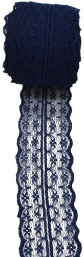 Budget Lint Kant Navy Blue +/-45mm 10 meter Donkerblauw Kant 45 mm