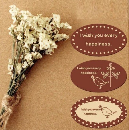 90 Stickers Labels Wish you Happiness /pakje Wish you Happiness