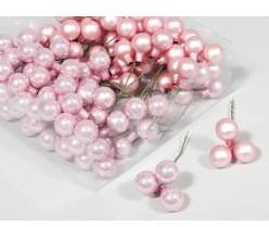 Balletjes op draad 2, 5 cm. PoederRose combi glans/mat /doos 144 stuks Kerstballen 2, 5 cm.