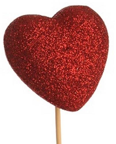 Bijsteker Hart glitter 6x6cm+50cm stok rood / pak +/- 25st Valentijn Moederdag